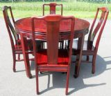 Round Extending Dining Table & Eight Matching Dining Chairs